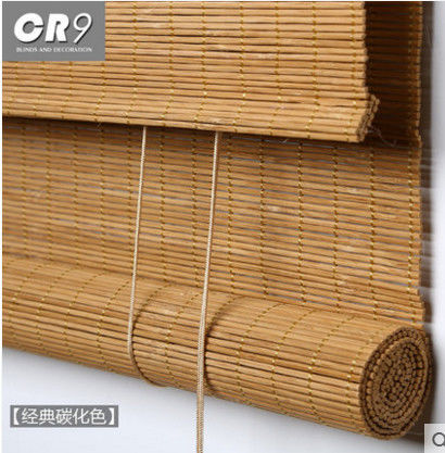 Slat Outdoor Roll Up Bamboo Blinds Weaving With Raffia Compact Framework